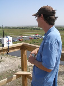 Eric track observing from the tower