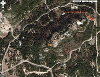 Tejas Trail (from Google Maps) - that blind crest is indicated by the orange arrow.