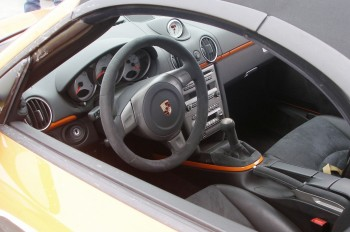 The LE Boxster S cockpit, with orange touches everywhere.