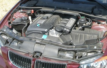 The stock 325i BMW engine bay