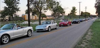 Cruising Row of Miatae...from the Bluebonnet Miata club