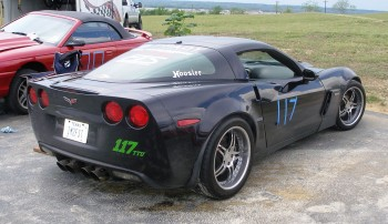 Mike's Corvette resting between track runs
