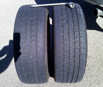 Left tire inside more worn than right - so I swapped them!
