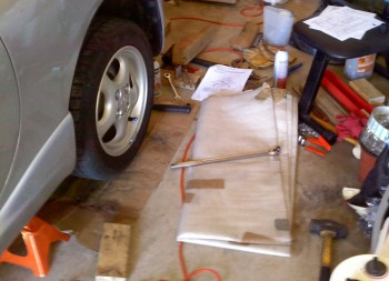 My left rear Miata suspension work space
