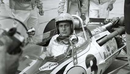Paul Newman, in an on-track scene in the 1969 movie Winning, at the Indianapolis Motor Speedway in 1968.