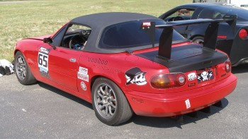 Rear view of John's 1995 Mazda Miata - check out that racing spoiler & diffuser!