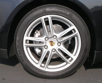 The stock Continental rear tire, 285/40 ZR 19, on the 2010 Porsche Panamera