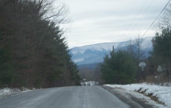 Snowy Catskill Mountains Road