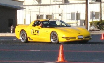 Eric at SASCA Autocross - January 2010 (note the Hoosiers & CCW wheels)!
