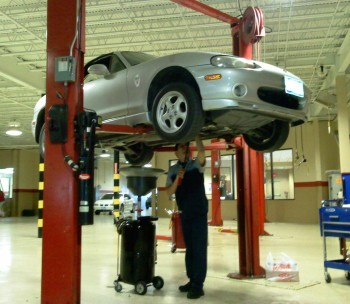 Karlino Miata, up in the air at the North Park Mazda service bay