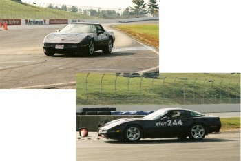 Eric @ speed in a previous Corvette, at the New Hampshire Motor Speedway