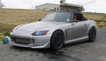 Jarrett's highly modified 2005 Honda S2000, front 3/4 view...
