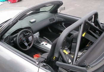 The well-prepared cockpit of Jarrett's highly modified 2005 Honda S2000...