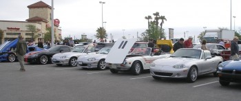 3 silver Miatas with a classic Triumph thrown in for spice.