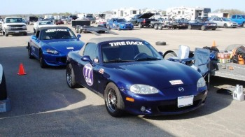 Tia's Miata & Chris' S2000, just about prepped, decals & all...