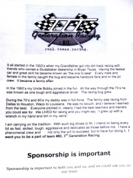 3RD Generation Racing - Sponsorship is Important!