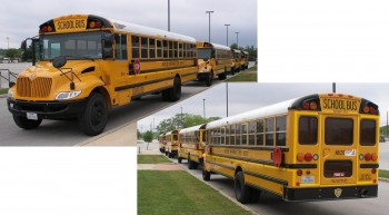 NISD Buses lined up, ready for ROAD-EO action...