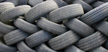Tier stacked worn tires - after their serviceable life
