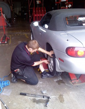 Josh, one of the busy Discount Tire Technicians, finalizing a New Falken on Karlino!