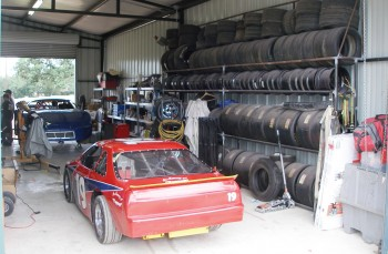 Just a portion of the Texdive Motorsports shop, with the #19 Allison Legacy car