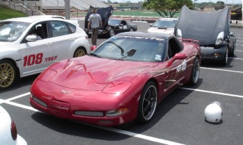 Novice Leora's Corvette - front view from on the SASCA autocross grid