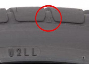 Tire sidewall triangle mark - click to enlarge, to better see the triangle...