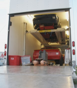 Both Texdive Motorsports Allison Legacy race cars loaded in the trailer - nice!