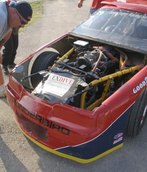 Cole Runco's Texdive Motorsports car #19, radiator air box damage...