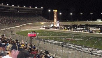 Here's the white flag, the last lap of the Firestone 550K at the Texas Motor Speedway...
