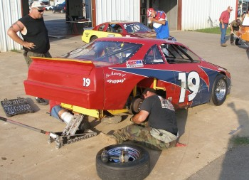 Post race disassembling the Texdive Motorsports car #19