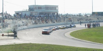 The Allison Legacy race cars in pace formation, awaiting the opening ceremonies...
