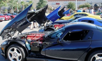 Dodge Vipers doing the show car salute, at the Panera's Coffee & Rides, July, 2010