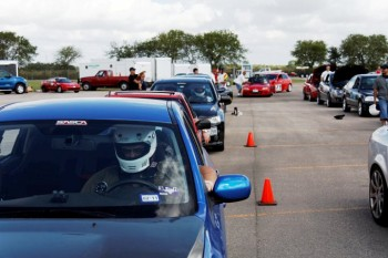 ettin' hot in your helmet, waiting on grid to autocross at the San Antonio Raceway lot course!