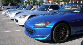 Honda S2000s all lined up, at the Panera's Coffee & Rides, July, 2010