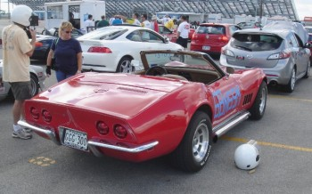 Kevin preparing to run his SO clean 1968 Corvette, on the autocross grid at the San Antonio Raceway.