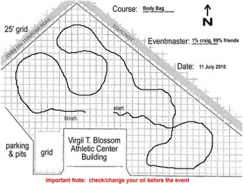 Rough sketch of 2010-JUL-11 autocross course design, by Craig.