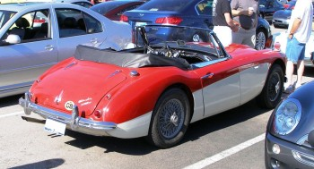 Vintage Austin Healey 3000 - on display, at the Panera's Coffee & Rides, July, 2010