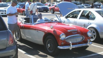Vintage Austin Healey 3000 on its way back home with its proud owner