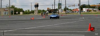 Example of autocross 'flour painted' lines, at 2010 SASCA #8, Blossom Athletic Center lot