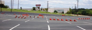 SO many cones...the lead up to the finish. Yes, that is the tilt of this lot! (2010 SASCA AutoX #9)