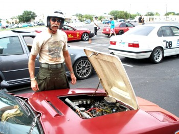 Chuck, ready to pilot his SAAB Sonett steed!