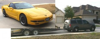 Eric's 2001 Z06 Corvette (Sunshine) & Jay's Nissan Pathfinder tow vehicle