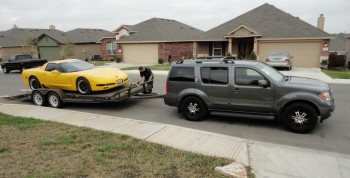Ready to leave from Eric's house - Jay's Pathfinder & Eric's trailered Corvette