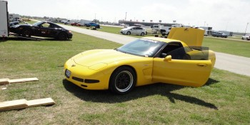 Eric's Corvette unloaded at the 2011 SCCA Solo Houston Tour site