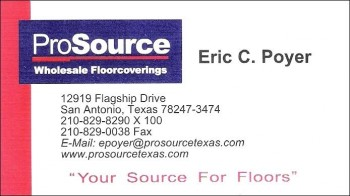 Eric's ProSource business card - Go ahead. give him a call!