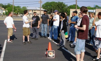 Novices listening attentively to Kevin, the SASCA Novice Coordnator for Autocross