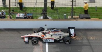 Rookie JR Hildebrand's damaged car slides across the finish line, finishing 2nd after hitting the wall in turn four while leading on the final lap of the 2011 Indy 500.  Photo by Greg Griffo / The Star, from IndyStar.com