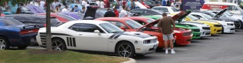 Chargers & Cameros in quiet anticipation, at the informal C&C Show @ Panera's, San Antonio, TX - 25-JUN-2011