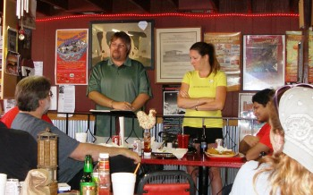 Charlie & Sondra facilitating the Austin Formula 1 Club meeting at Wild Bubba's, June 18, 2011