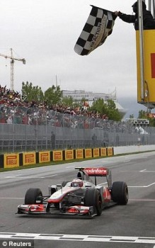 Jenson Button winning the 2011 Canadian Grand Prix